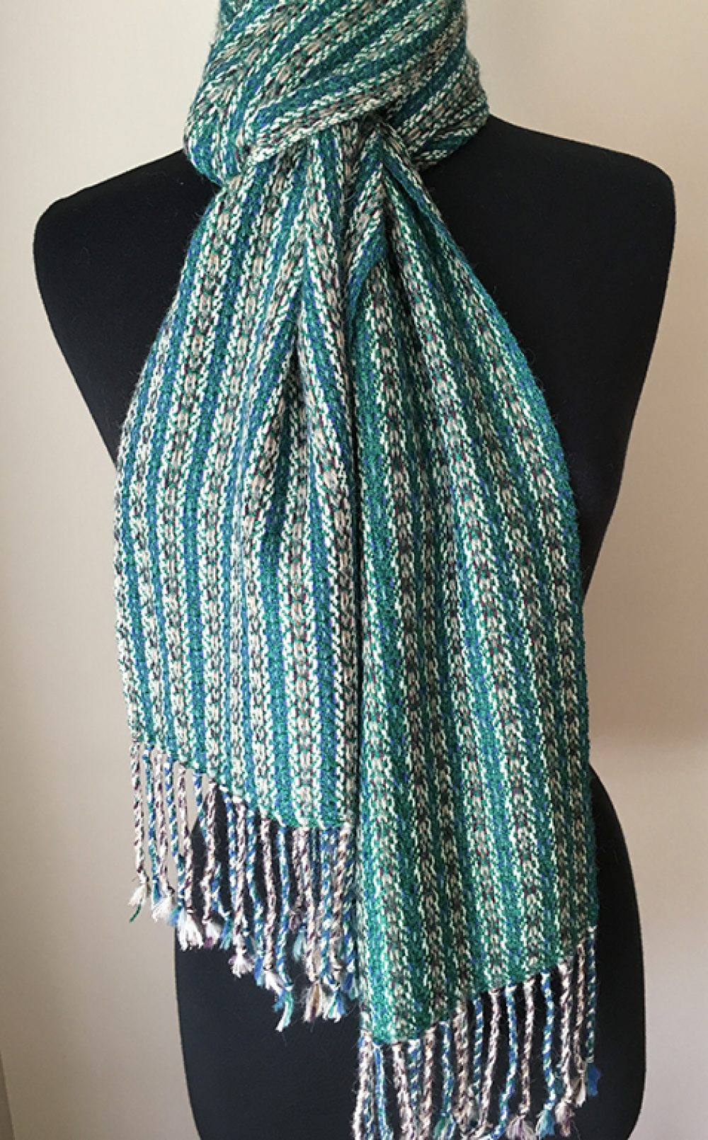 Silk Blend Bottle green scarf two styling optons