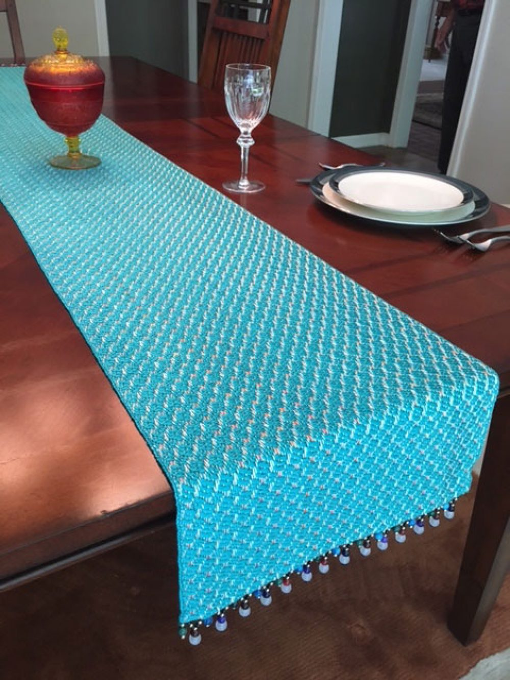 Silk ribbon table runner with bead trim