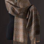 silk blend scarf reversible onyx