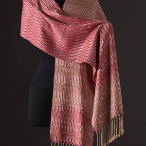 Luxurious silk blend scarf reversible – Cerise