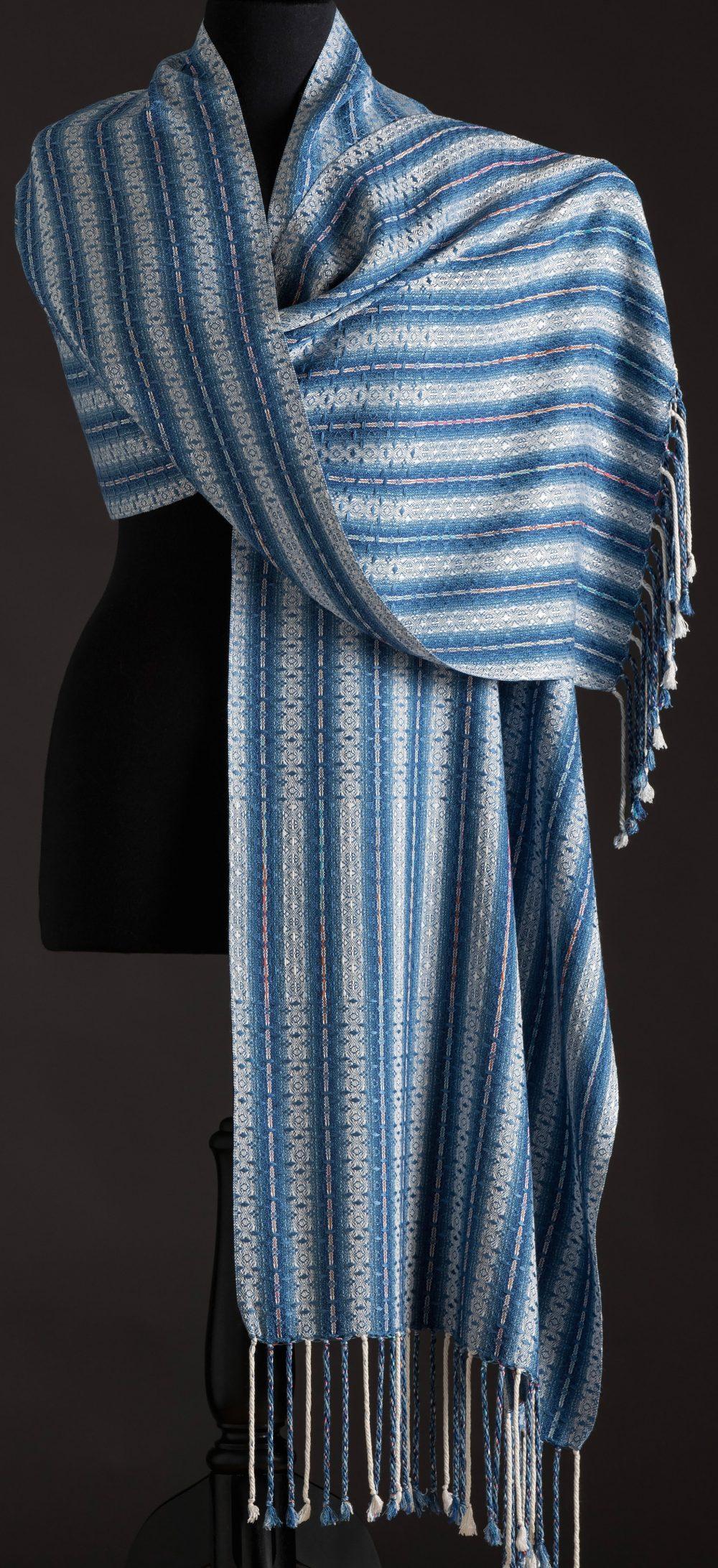silk blend wrap reversible - indigo