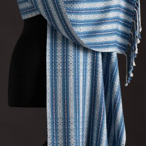 Luxurious silk blend wrap reversible – Indigo