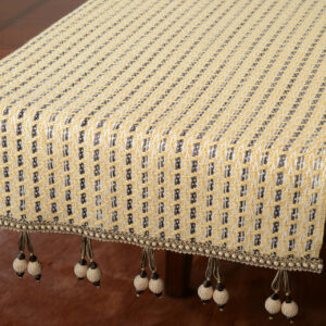 Golden Wheat Table Runner with Double Ball Tassel Trim