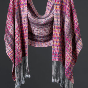Handwoven alpaca reversible wrap – Tropical Sunset