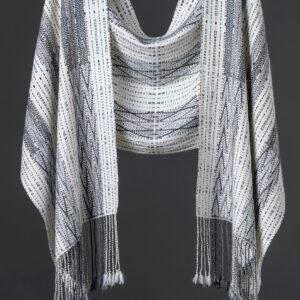 Handwoven alpaca blend reversible wrap – Pearl