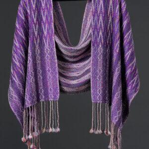 Handwoven alpaca reversible wrap – Pansy